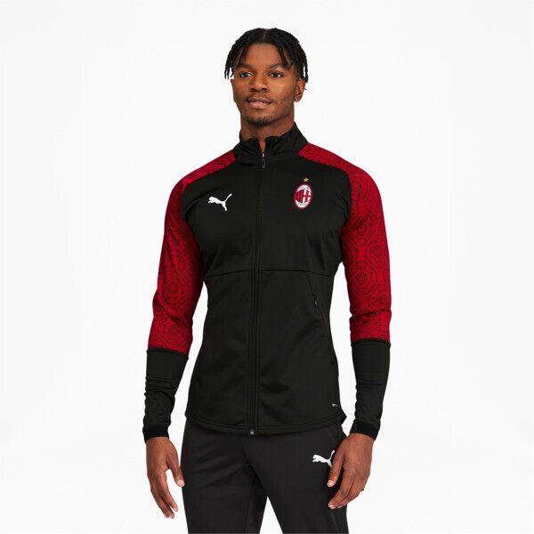 Puma AC Milan Men's Home Stadium Jacket in Black/Tango Red, Size M