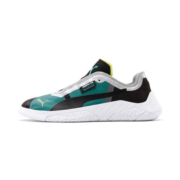 Puma Mercedes-AMG Petronas Replicat-X Men's Motorsport Shoes in Black/White/Spectra Green, Size 14