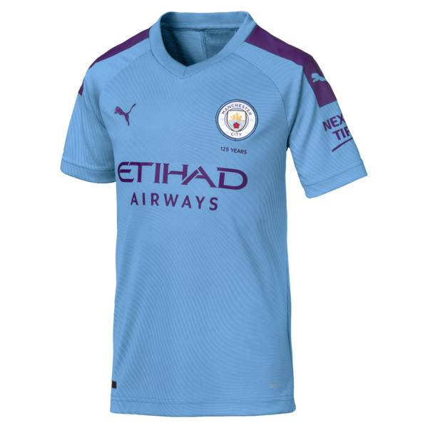 Puma Manchester City FC Kids' Home Replica Jersey in Team Light Blue/Tillandsia Purple, Size M