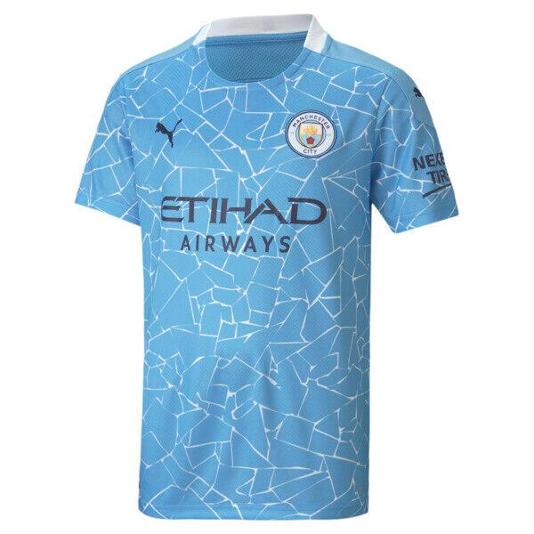 Puma Manchester City FC Kids' Home Replica Soccer Jersey in Team Light Blue/Peacoat, Size XL