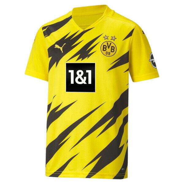 Puma BVB Kids' Home Replica Soccer Jersey in Cyber Yellow/Black, Size L