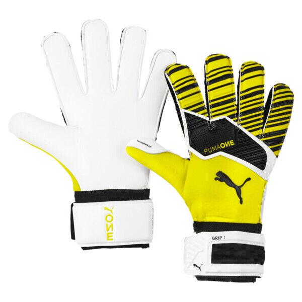 Puma ONE Grip 1 Goalkeeper Gloves in Yellow Alert/Black/White, Size 7