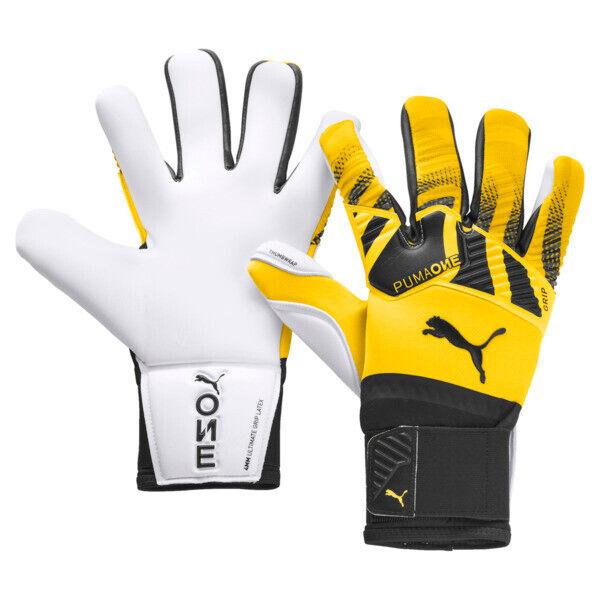 Puma ONE Grip 1 Hybrid Pro Goalkeeper Gloves in Ultra Yellow/Black/White, Size 10