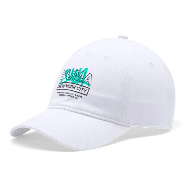 Puma NYC Graffiti Adjustable Dad Cap in White Traditional