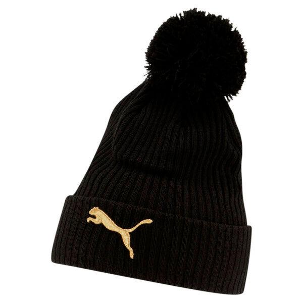 Puma Lily Cuff Pom Beanie Hat in Black