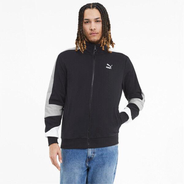 Puma Tailored for Sport Retro Fusion Men's Track Jacket in Black/Vaporous Grey, Size XXL