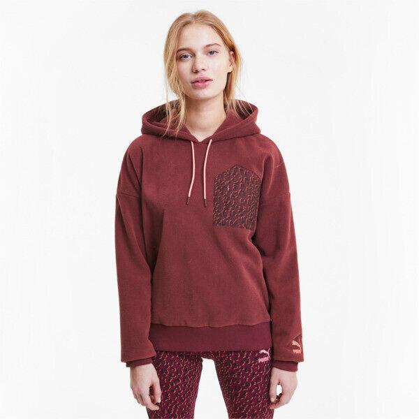 Puma Tailored for Sport Women's Polar Fleece Hoodie in Burgundy, Size L