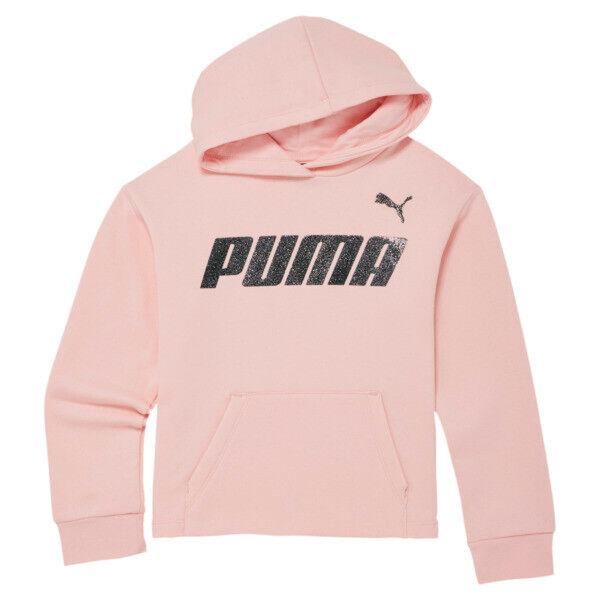 Puma Slant Sports Little Kids' Fleece Hoodie in Crystal Rose 2, Size M