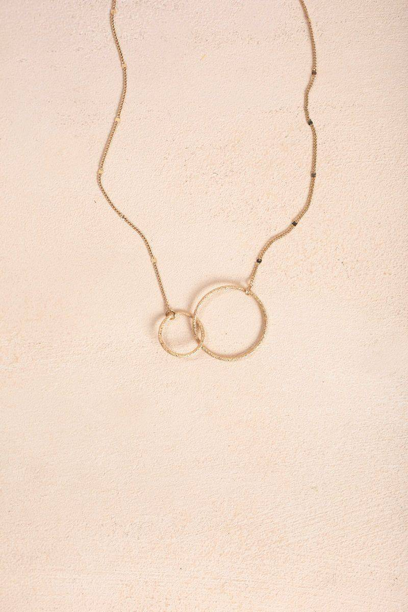 Ana Maddy Double Circle Gold Necklace