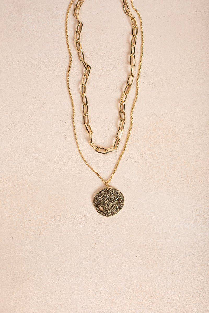 Ana Bella Gold Layered Coin Necklace