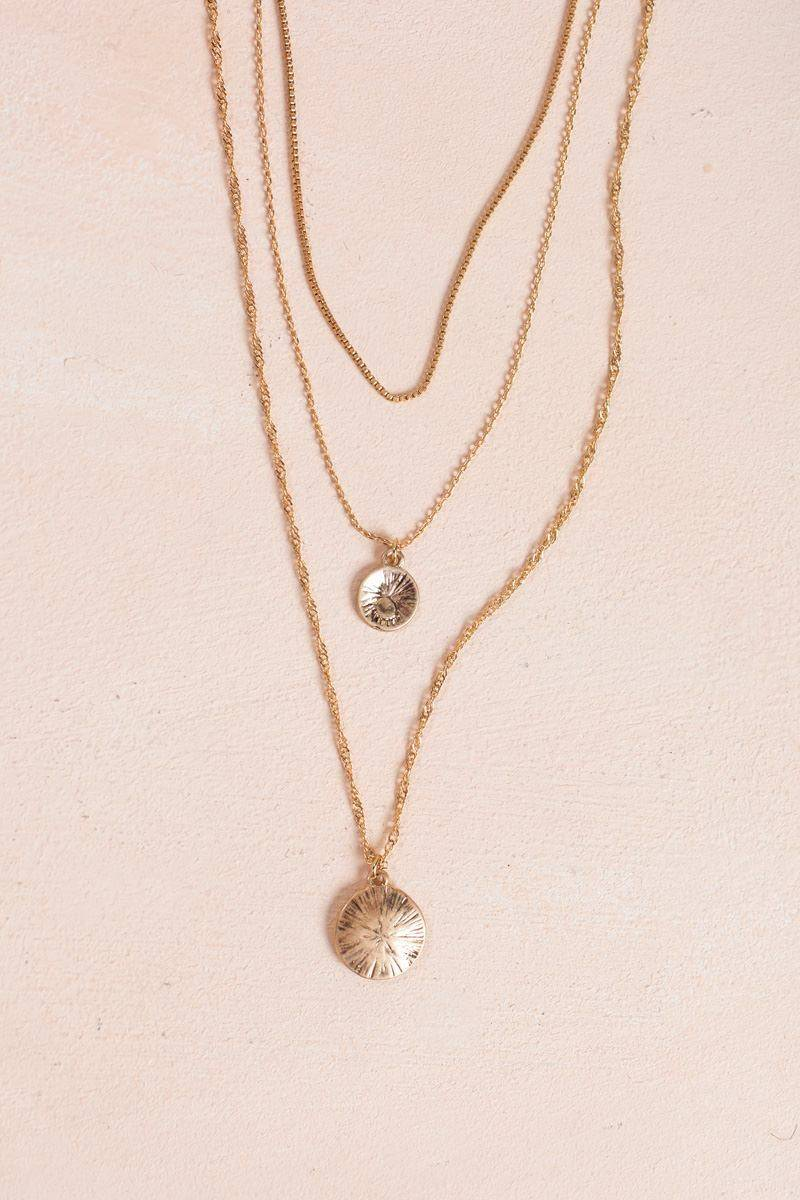 Joia Stella Gold Coin Pendant Layered Necklace