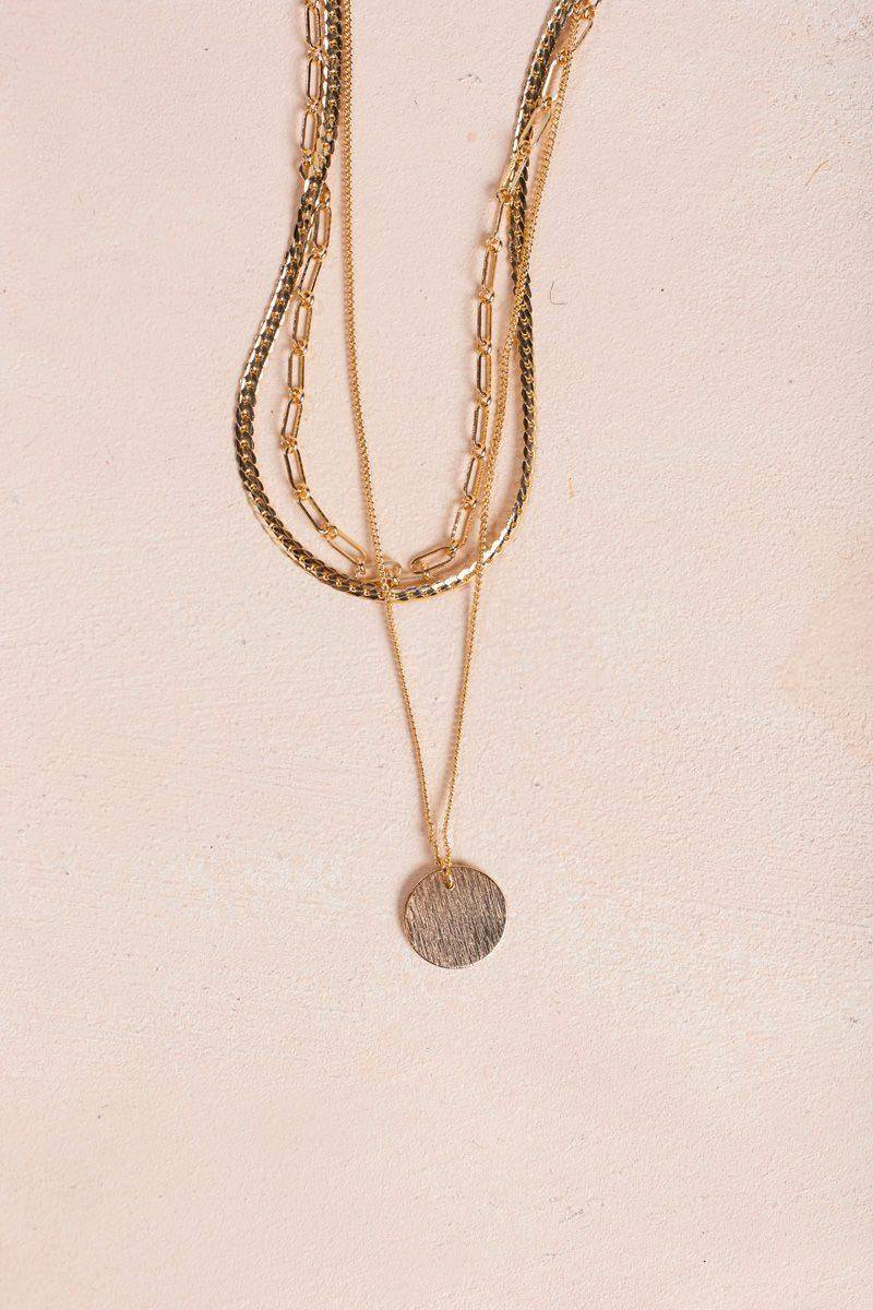 Joia Paisley Gold Layered Chain Link Necklace