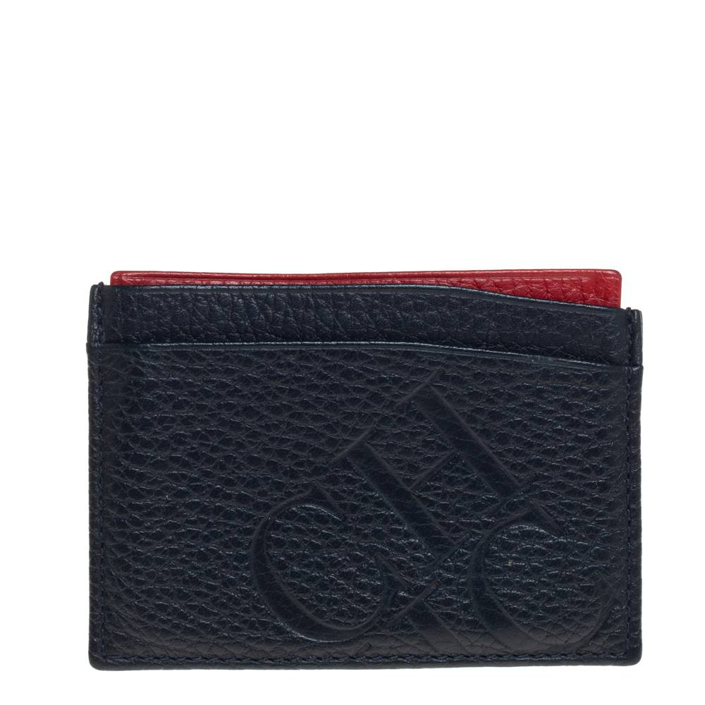 Carolina Herrera Blue/Red Leather Sport Card Holder