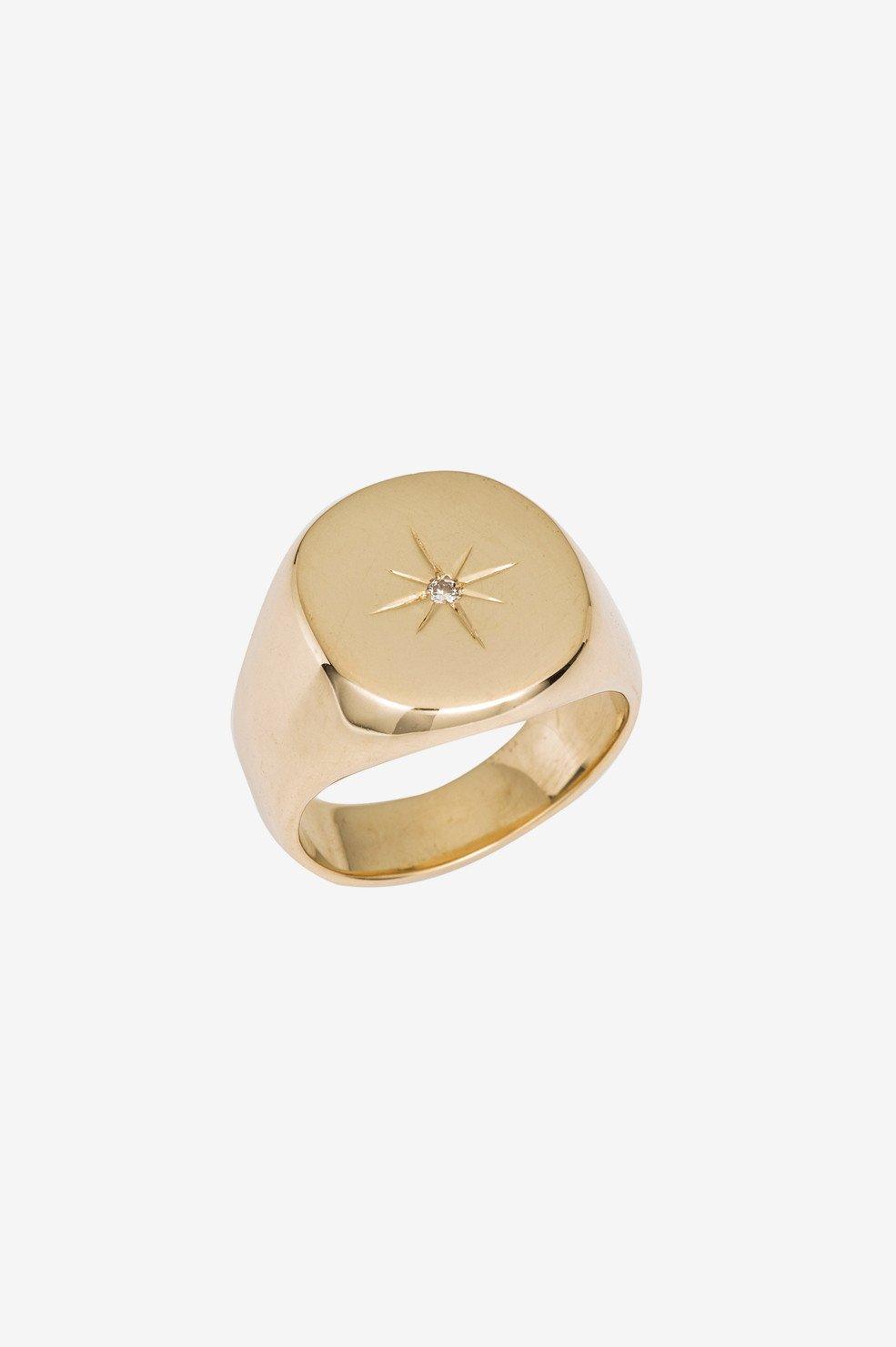 ANINE BING 14k Yellow Gold & Diamond Signet Ring  - 14k Gold - Size: 4