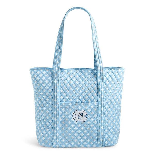 Blue Vera Bradley Collegiate Tote Bag in Car. Blue/White Mini Concerto with University of North Carolina Logo