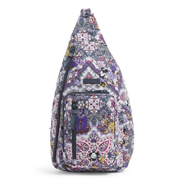 Purple Vera Bradley Disney Sling Backpack in Mickey's Sweet Treats Purple