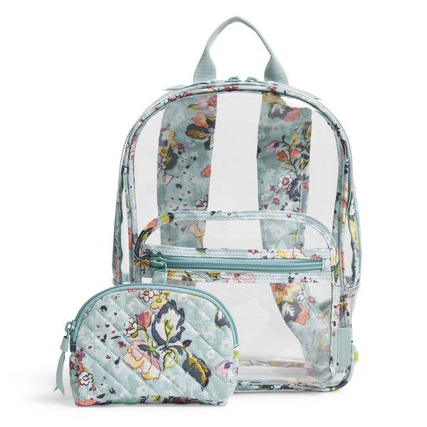 Blue Vera Bradley Clearly Colorful Stadium Backpack Set in Floating Garden Blue
