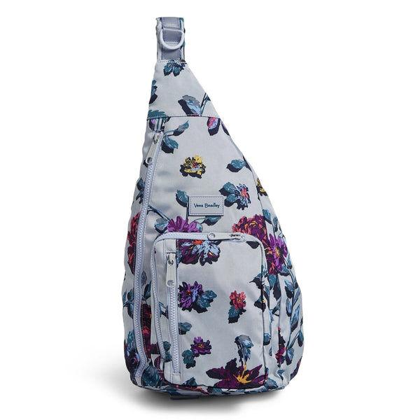 Gray Vera Bradley Sling Backpack in Neon Ivy Gray