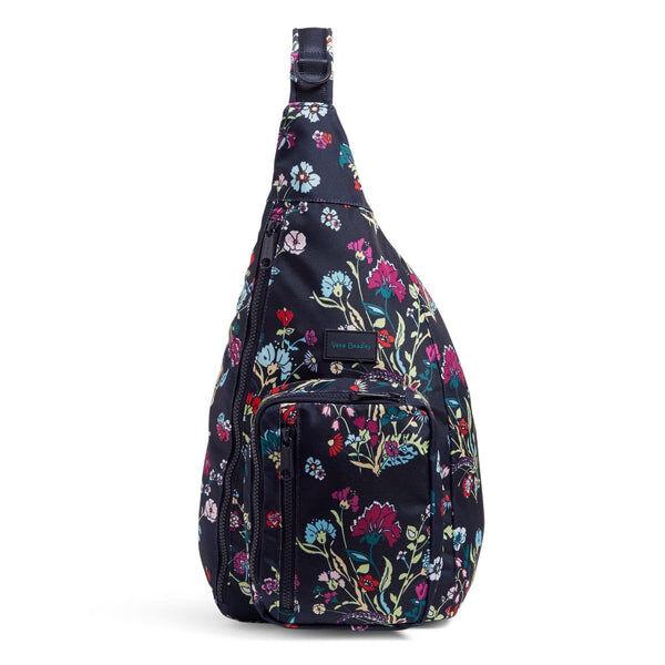 Blue Vera Bradley Sling Backpack in Itsy Ditsy Floral Blue