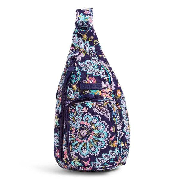 Purple Vera Bradley Mini Sling Backpack in French Paisley Purple