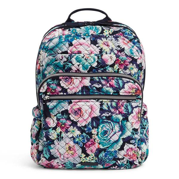 Blue Vera Bradley Large Campus Backpack in Garden Grove Blue