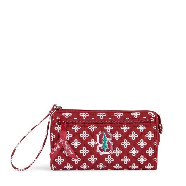 Red Vera Bradley Collegiate Front Zip Wristlet Women in Cardinal/White Mini Concerto with Stanford University Logo Red