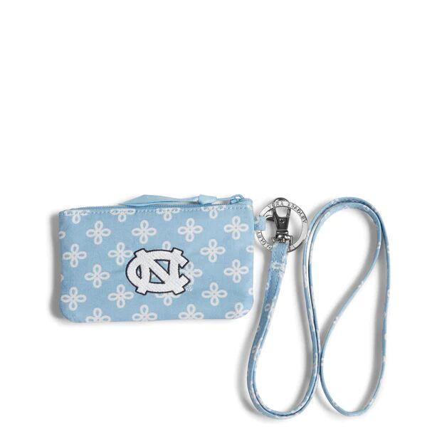 Blue Vera Bradley Collegiate Zip ID Lanyard Women in Car. Blue/White Mini Concerto with University of North Carolina Logo