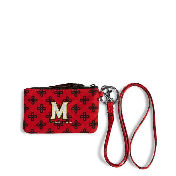 Red Vera Bradley Collegiate Zip ID Lanyard Women in Red/Black Mini Concerto with University of Maryland Logo