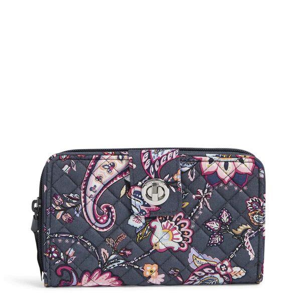 Pink Vera Bradley RFID Turnlock Wallet Women in Felicity Paisley Pink