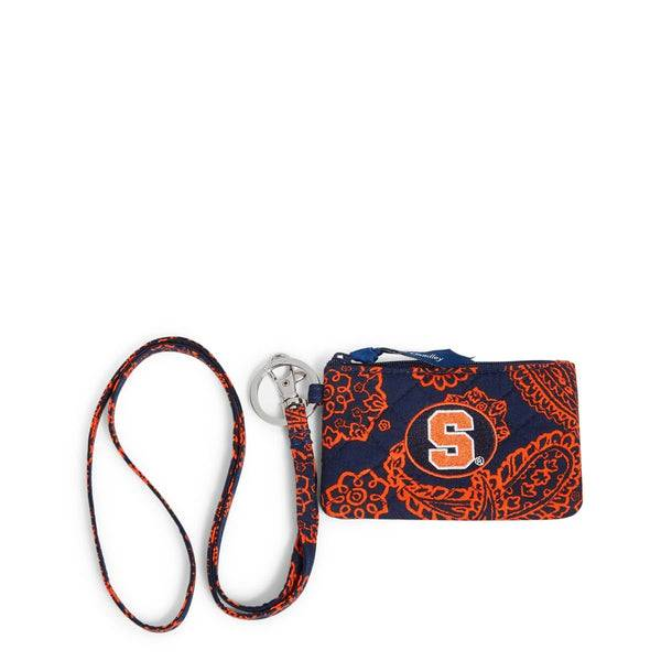 Blue Vera Bradley Collegiate Zip ID Lanyard Women in Navy/Orange Bandana with Syracuse University Logo Blue