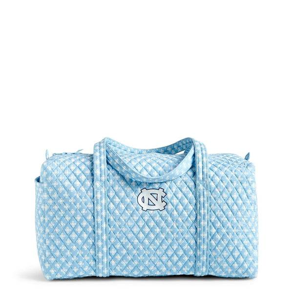 Blue Vera Bradley Collegiate Large Travel Duffel Bag in Car. Blue/White Mini Concerto with University of North Carolina Logo