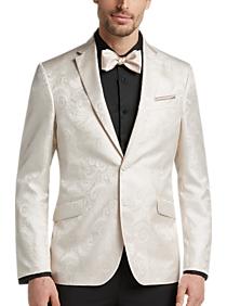 Egara Cream Jacquard Slim Fit Dinner Jacket