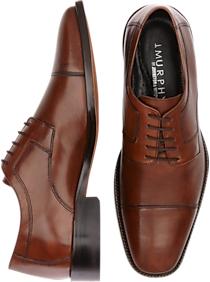 J. Murphy by Johnston & Murphy Novick Brown Cap Toe Lace Up Shoes