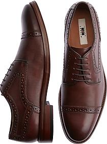 Joseph Abboud Saffiano Tobacco Cap Toe Derbys Casual Shoes