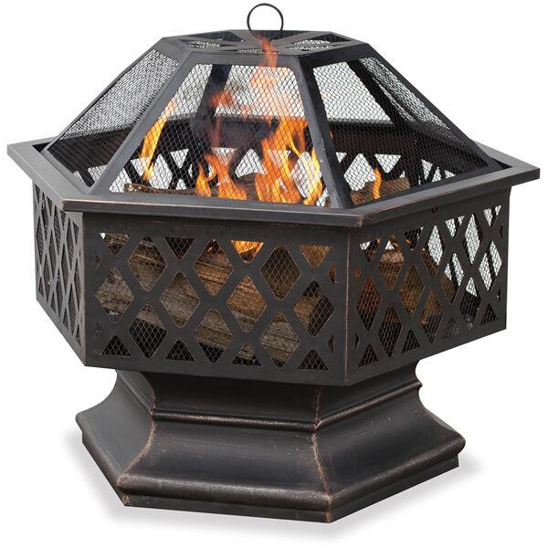 Uniflame Bronze Hex Shaped Outdoor Firebowl with Lattice