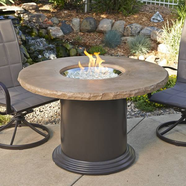 The Outdoor GreatRoom Colonial Crystal Gas Fire Pit Table  Dining Height