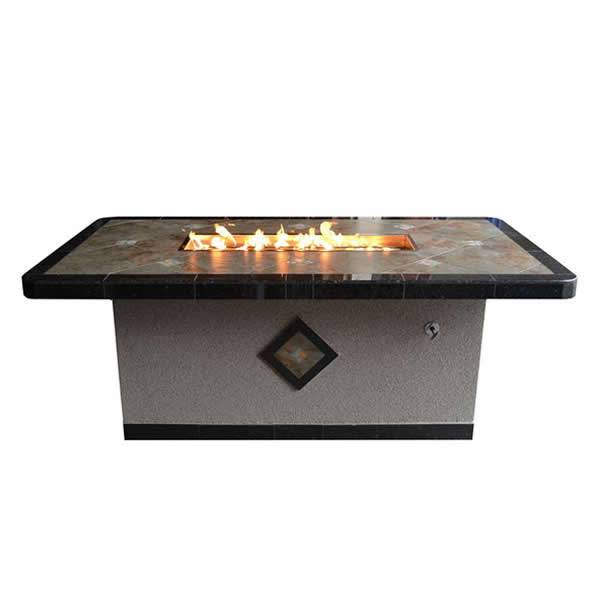 "The Outdoor Plus OPT-3660 Natural Stone Gas Fire Pit Table - 36"" x 60"" - NG"