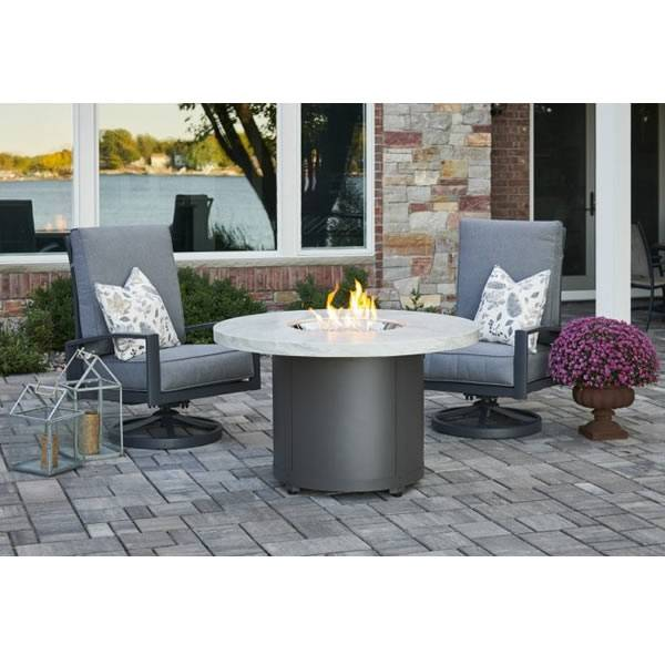 The Outdoor GreatRoom White Onyx Beacon Dining Height Gas Fire Pit Table