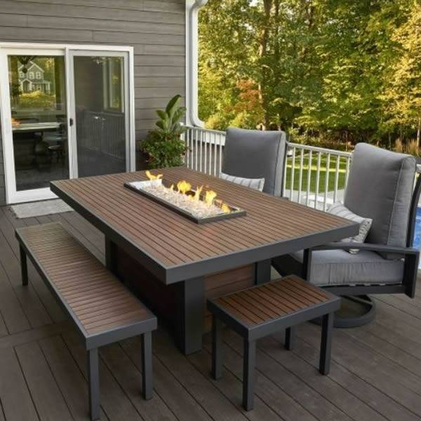 The Outdoor GreatRoom Kenwood Linear Dining Height Fire Pit Table