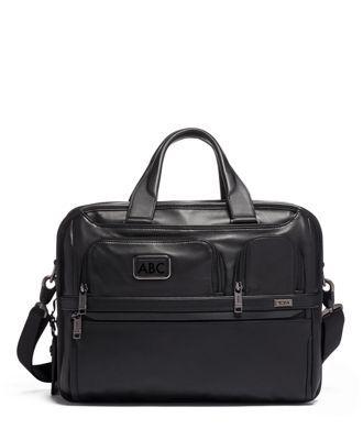 tumi Expandable Organizer Laptop Brief Leather  - Black Leather - Size: one size