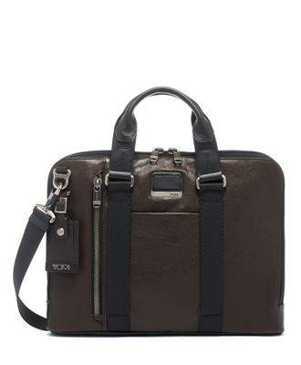 tumi Aviano Slim Brief Leather  - Dark Brown - Size: one size