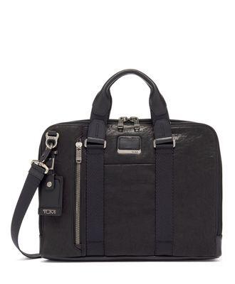 tumi Aviano Slim Brief Leather  - Black Leather - Size: one size