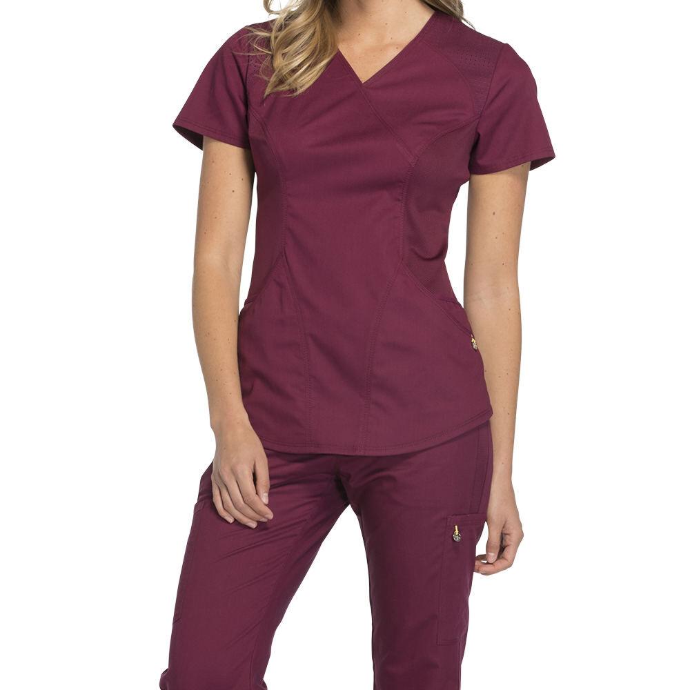 Cherokee Medical Uniforms LUXE SPORT-Mock Wrap Top Burgundy Shirts L