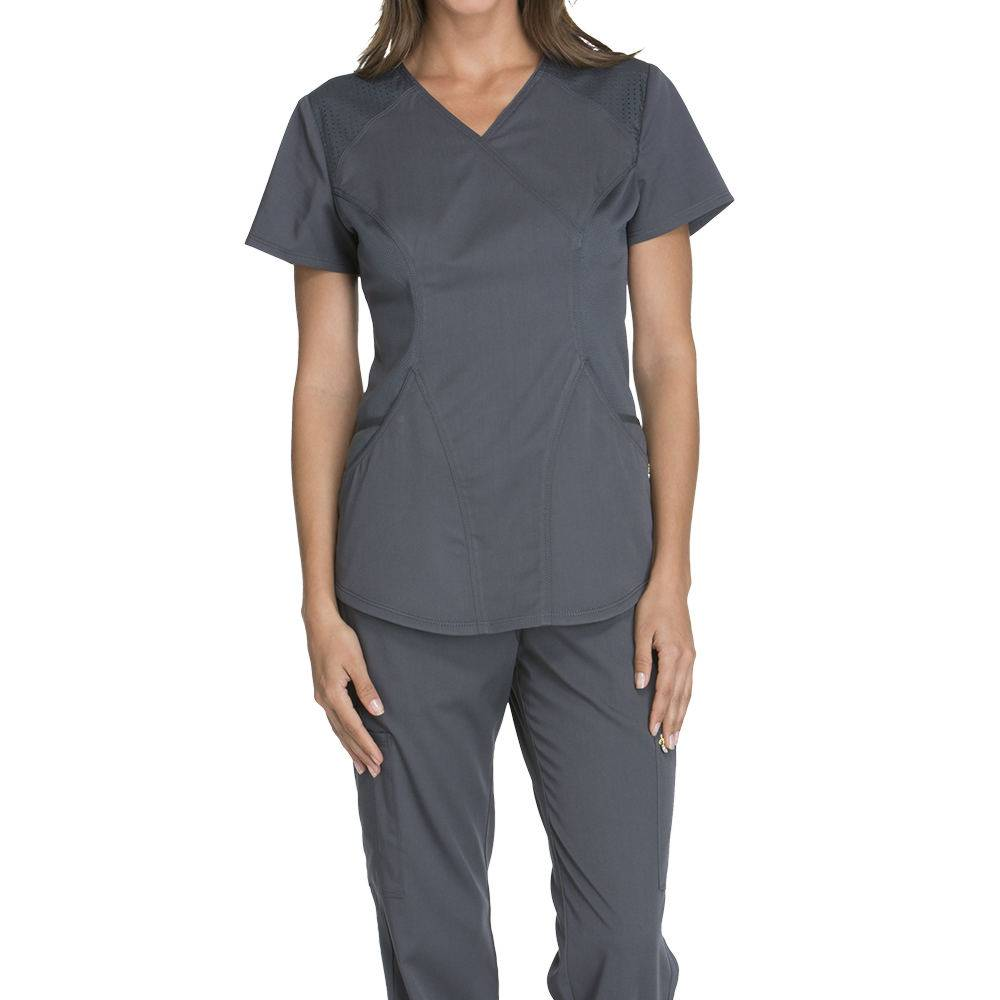 Cherokee Medical Uniforms LUXE SPORT-Mock Wrap Top Pewter Shirts XL