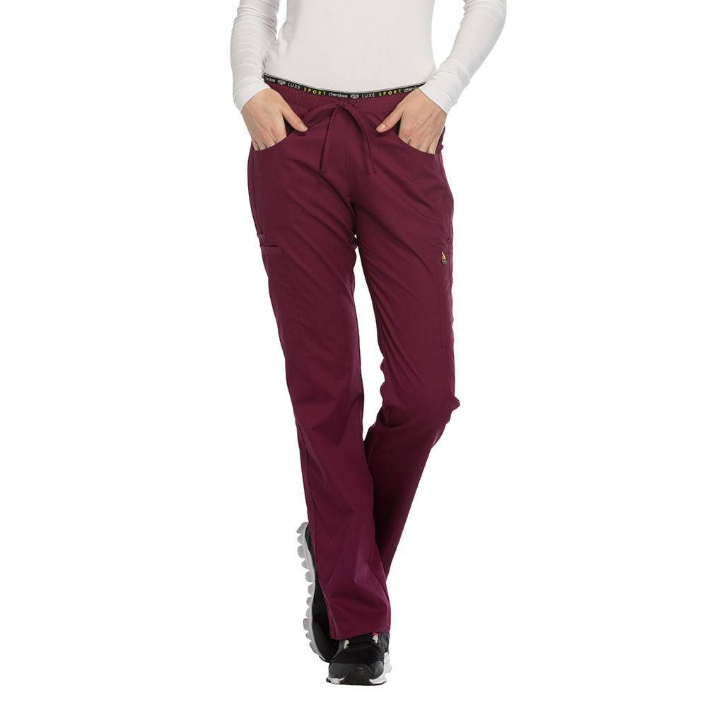 Cherokee Medical Uniforms LUXE SPORT Mid Rise Draw Pant Burgundy Pants M-Short