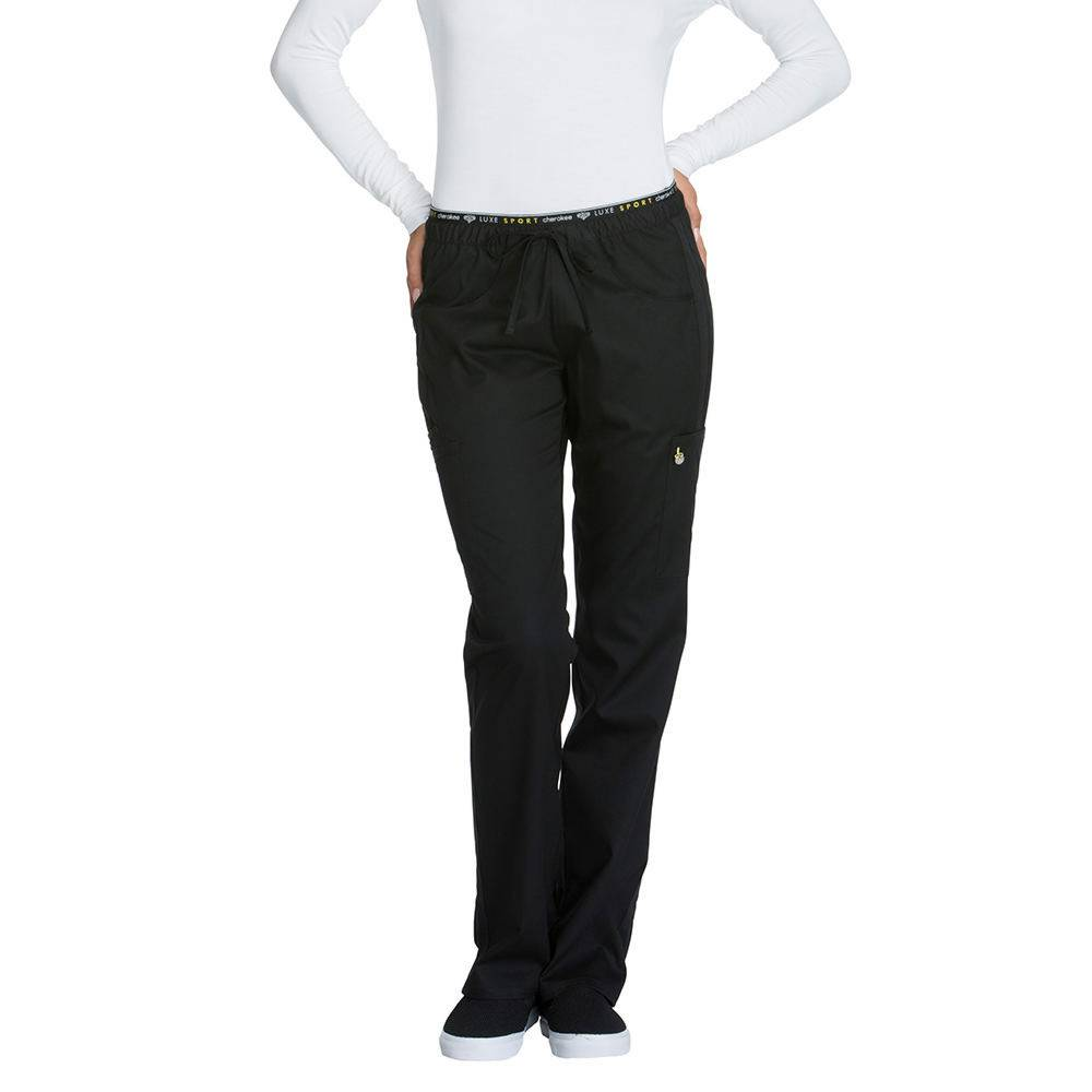 Cherokee Medical Uniforms LUXE SPORT Mid Rise Draw Pant Black Pants M-Short