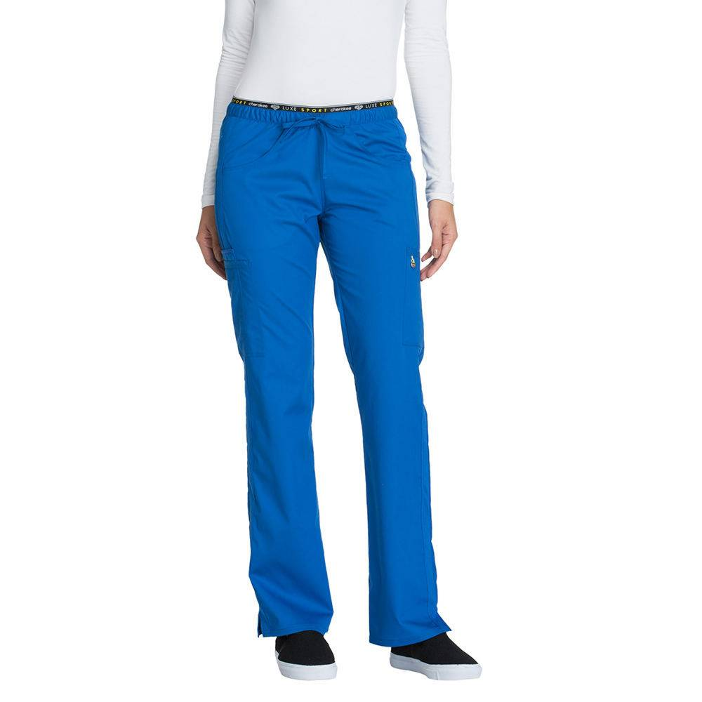 Cherokee Medical Uniforms LUXE SPORT Mid Rise Draw Pant Blue Pants M-Regular