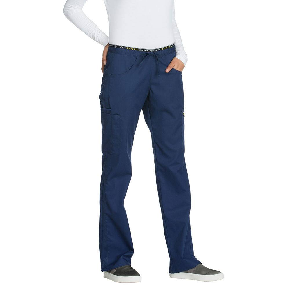Cherokee Medical Uniforms LUXE SPORT Mid Rise Draw Pant Navy Pants 2X-Long