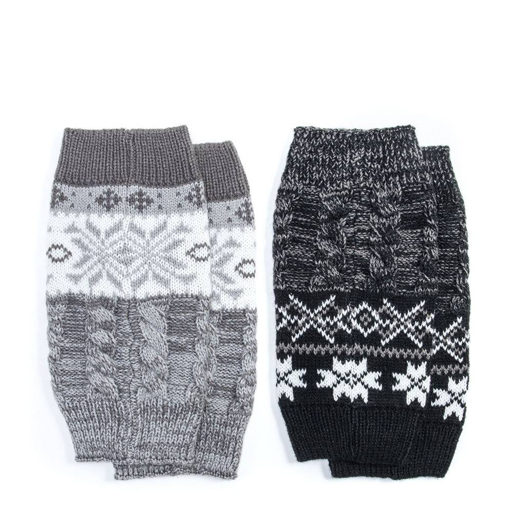 MUK LUKS 2-Pack Reversible Snowflake Boot Toppers Women's Black Footwear Accessories One Size