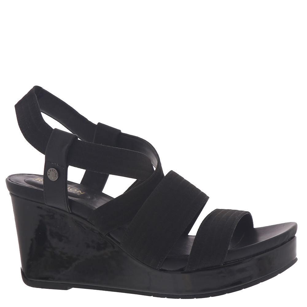 Kenneth Cole Reaction Card Elastic Wedge Women's Black Sandal 6.5 M